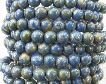 6mm Opaque Denim Picasso Czech Glass Round Beads - Qty 30 (AW38)