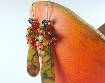 25% Off Summer Sale Picasso Jasper, Carnelian, Vesuvianite, Green Tourmaline and Grossular Garnet Cluster Earrings