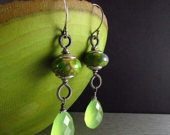 End Of Summer Sale Lampwork and Green Chacedony Wire Wrapped Sterling Silver earrings