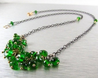 End Of Summer Sale Chrome Diopside Cluster Mixed Metal Necklace