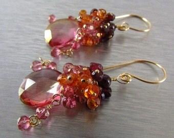 Pink Quartz Cluster Gold Filled Earrings With Pink Quartz, Rhodolite Garnet, Orange Quartz