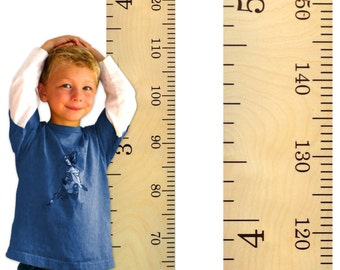 Schoolhouse Wooden Ruler Growth Chart / Kids Wood Height Chart / Child Growth Chart Ruler - Centimeter