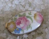 vintage barrette beautiful porcelain with flowers