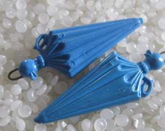vintage barrettes, blue umbrella with duck handle, rare find , matching pair