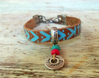 Brown Leather Charm Friendship Bracelet, Beaded Bohemian Bracelet, Gift For Her, Best Friend Gift, Bohemian Jewelry, Fashion Jewelry