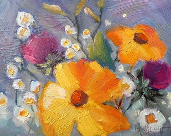 """Original Flower Oil Painting, Impressionist Floral, Daisy Painting, 6x8"""" Small Oil Painting by Carol Schiff"""