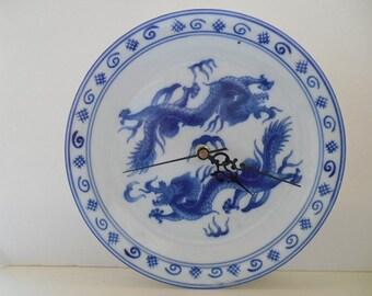 Ceramic Wall Clock, Chinese dragon, plate wall clock, blue and white china,