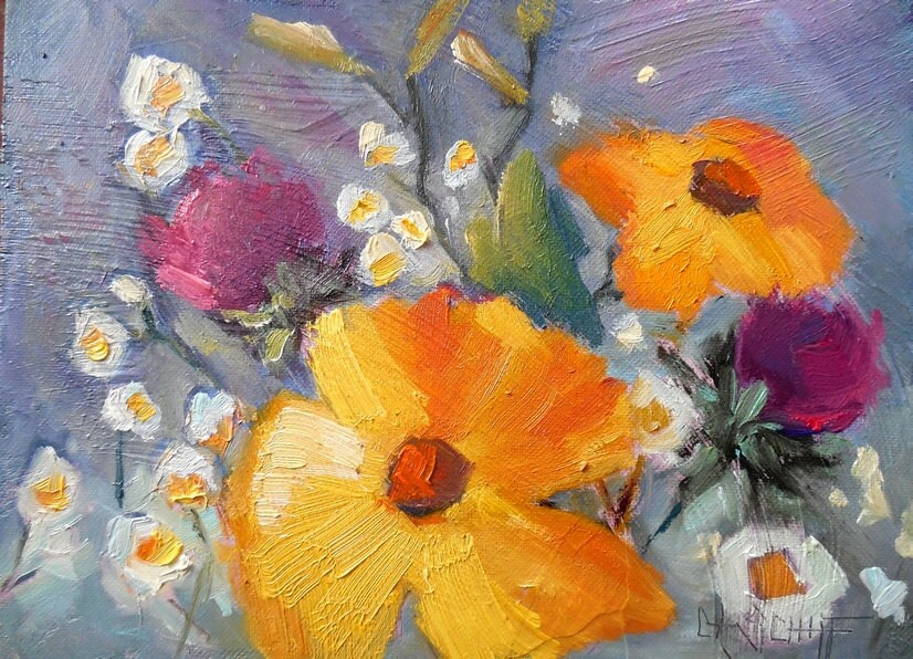 Original flower oil painting impressionist floral daisy for How to oil paint flowers