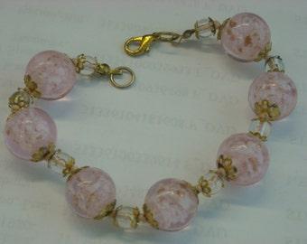 pink lampwork beads bracelet  ( B 82 )