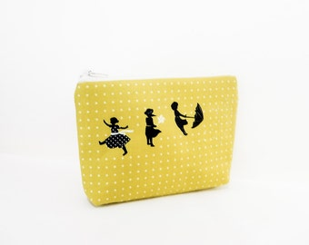 Fabric Zipper Pouch, Cute Pouch, Gift for Her, Pouch, Card Pouch, Zipper Case, Cotton and Steel Pouch, Change Purse, Coin Purse, Small Pouch