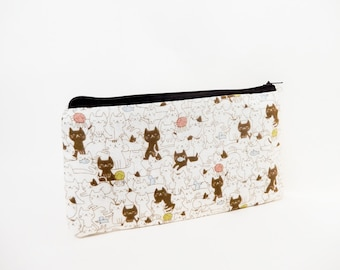 Cat Pouch, Small Pouch, Cotton Pourch, Fabric Pouch, Cute Pouch, Zipper Pouch, Coin Purse, Gift for Her, Gift Under 20, Playful Cat Print