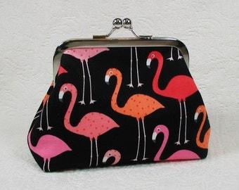 Kiss Lock Purse, Metal Frame Purse.. Flamingos in Black