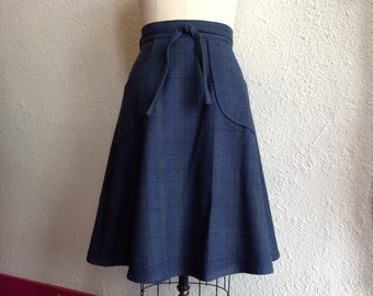 Blue flannel cotton wrap skirt Sz 10/12/14