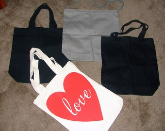 FREE SHIPPING - Canvas Tote Lot - Great for DIY projects, Gift Bags, Party Favors Ect