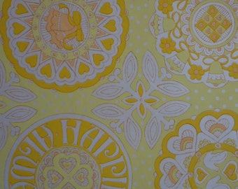 Vintage 1970s Wedding Wrapping Paper- Yellow Wedding Gift Wrap- 1 Sheet Sunny Yellow