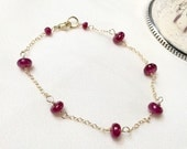 Ruby Bracelet, Wire Wrap Red Ruby Stacking Bracelet, 14kt Gold Fill, Gold Chain, Smooth Ruby Rondelle, Minimalist Layering Bracelet