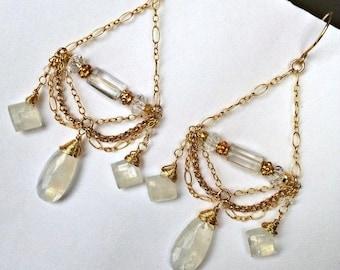 35% FLASH SALE Moonstone Chandelier Earrings 14kt Gold Filled Chain Chandelier Earrings Wire Wrap Moonstone Wedding Earrings