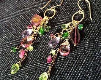 CUPID SALE xOx Watermelon Tourmaline Earrings, Watermelon Slice Earrings Wire Wrap Gold Chain Tassel Earrings Pink Tourmaline Earring Carved