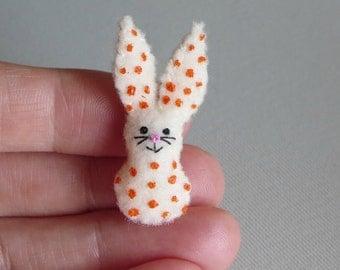 Rabbit miniature felt stuffed animal plush toy - cream with orange polka dots