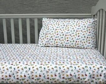 Bird print Cot Bedding Set, flat sheet and pillow cover