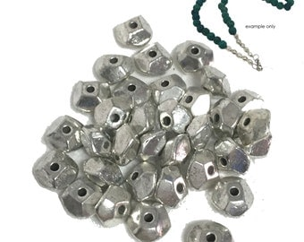 Zinc Alloy Nuggets Silver Plated 10mm x 25