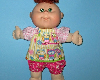 Cabbage Patch Newborn Surprise Teeny Tiny Preemies  Doll Clothes Owls Short   Set  10 inch  Doll Clothes Girl