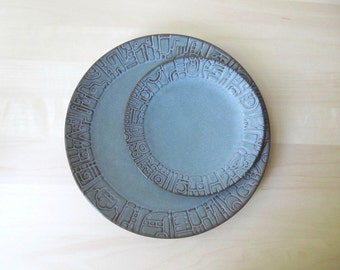 Frankoma Aztec dinner and salad plate woodland moss blue green brown rustic