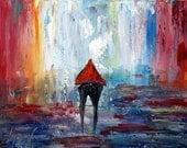 Rain Romance Painting Gift for a Romantic Couple Original Oil Painting Modern Wall Art