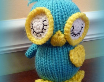 Hand Knitted Stuffed Owl, Stuffed Animal, Stuffed Owl, Toy