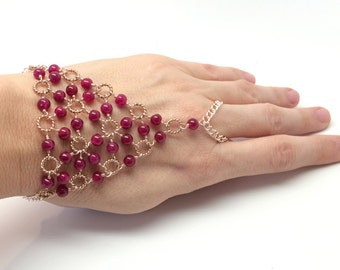 Candy Jade Beadmail Slave Bracelet - Magenta Jade Beads on Rose Gold Wire and Chain