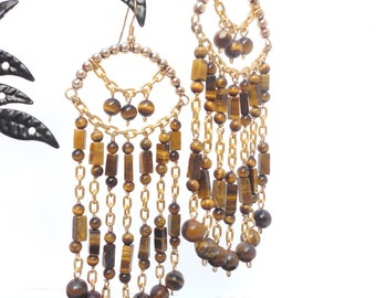 Tiger Eye Earrings: Sekhmet -Tiger Eye and Gold Beads on Gold Wire and Chain