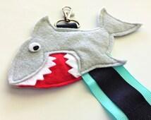 Small Shark Black on Teal Ribbon Cheer Bow Hair Clip Holder