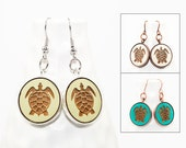 Sea Turtle Earrings - Laser Engraved Wood with Mermaid and Anchor Design (Choose Your Color)