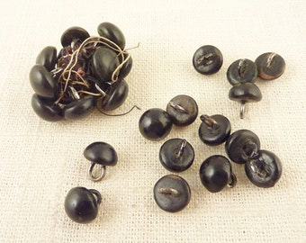 SALE --- Large Group of Small Antique Black Bead Buttons