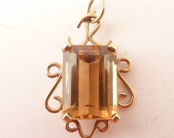 Antique Scrollwork 10K Gold Radiant Cut Citrine Charm or Pendant