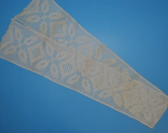 Antique Victorian Crocheted Lace Long Scarf