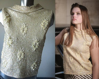 Vintage 60s Iridescent Cream Beaded and Sequinned Top Size Medium