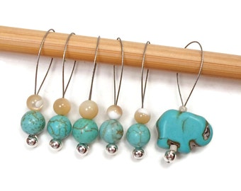 Beaded Stitch Markers Snag Free Turquoise Elephant Snagless DIY Knitting Supplies Gift for Knitter Goth Skull