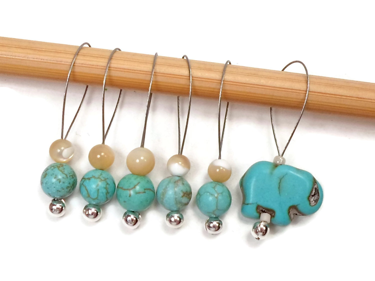 Knitting Markers Beads : Beaded stitch markers snag free turquoise elephant snagless
