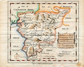 1744 Antique Map of Merioneth Shire - Wales Map - Hand Coloured Wales Map - Unique Gift