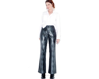 omg KILLER SNAKESKIN PANTS / size 9 womens medium / skintight stretch pants 90s does 70s flares bellbottoms bell bottoms disco rave