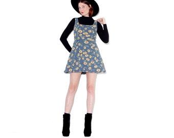 OMG 90s SUNFLOWER DRESS / xs small medium / sunflower print floral dress mini dress 90s dress thermal dress stretchy thermal fabric