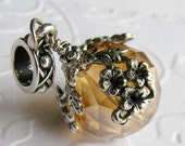 """Big hole bead bracelet charm """"The World in Bloom"""" champagne ball, neutral tan, dangle bead, antiqued silver floral draping, large hole bead"""