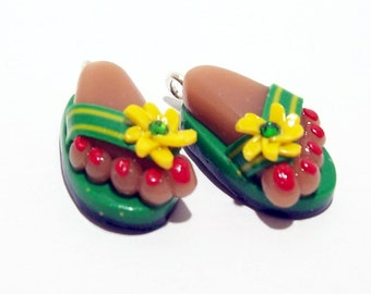Flip Flops - Handmade Polymer Clay CHARMS with Feet