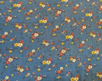 Free Shipping! Vintage Royal Blue Calico. 1/2 Yard. 16127