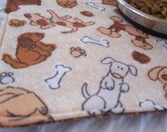 Dog Pet Feeding Mat, Dogs, Puppy Mat, Dog Mat, Travel Pet Mat, OOAK Pet Placemat, Brown Paisley Mat, Reversible Placemat,  Cloth Pet Mat