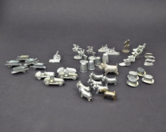 Lot of 39 +1 Vintage Monopoly Tokens - Monopoly Game Pieces