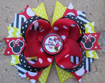 My First Disney Trip Minnie Mouse Inspired Custom Boutique Hair Bow for Disney World Vacation Mickey Mouse Clubhouse 1st Trip m2m shirt
