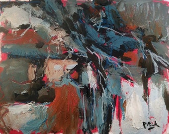 Abstract Modern Painting, blue grey red white black original expressionist art by Russ Potak