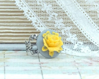 Yellow Rose Cameo Ring Victorian Ring Yellow Flower Ring Yellow And Blue Ring Yellow Rose Ring